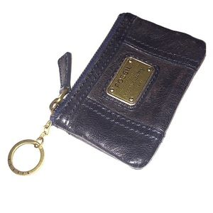 FOSSIL black leather card/cash/ID case & keychain